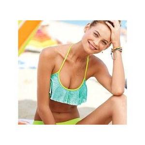 Victoria's Secret aqua lime flounce sequin bikini